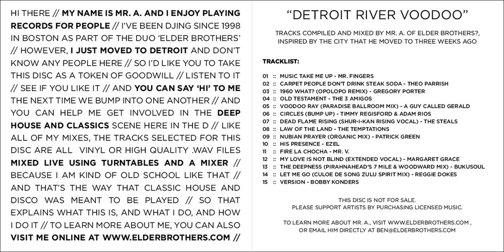 Detroit River Voodoo - CD Booklet